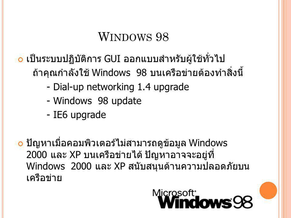 Windows 98 เป็นระบบปฏิบัติการ GUI ออกแบบสำหรับผู้ใช้ทั่วไป