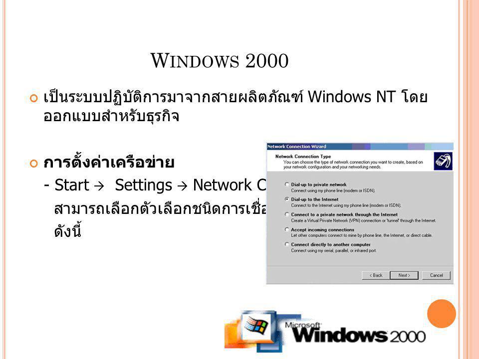 Windows 2000 เป็นระบบปฏิบัติการมาจากสายผลิตภัณฑ์ Windows NT โดยออกแบบสำหรับธุรกิจ. การตั้งค่าเครือข่าย.
