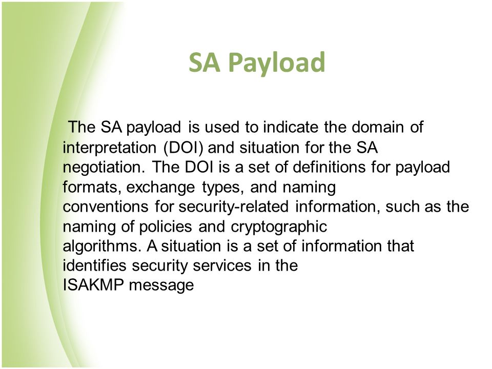SA Payload The SA payload is used to indicate the domain of interpretation (DOI) and situation for the SA.