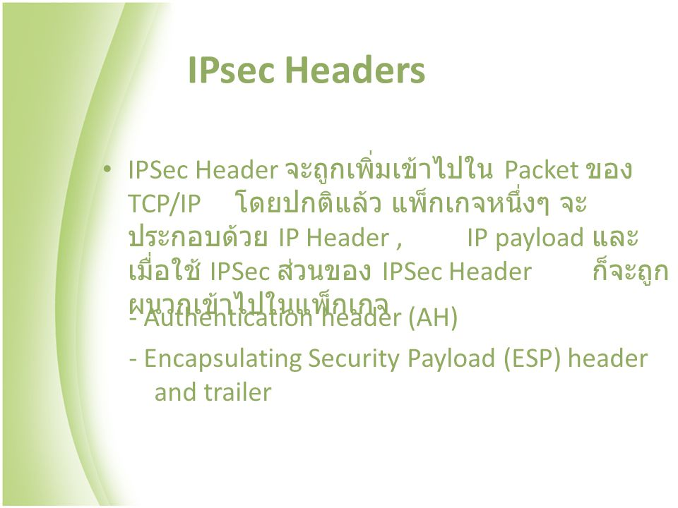 IPsec Headers