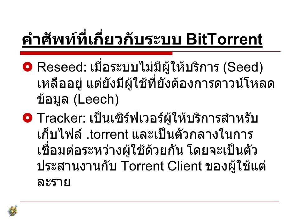 คำศัพท์ที่เกี่ยวกับระบบ BitTorrent