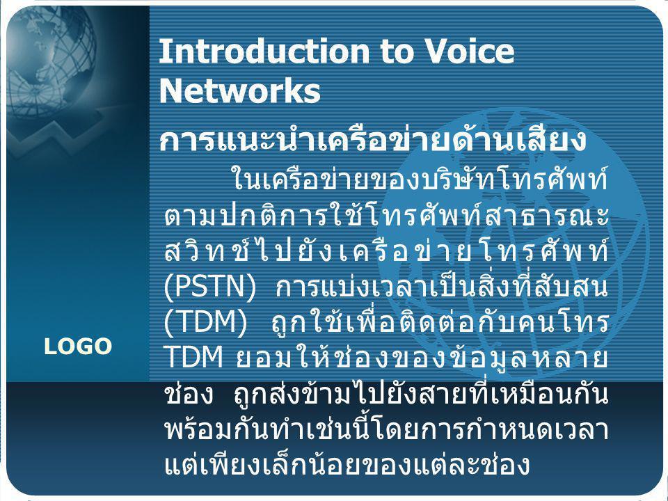 Introduction to Voice Networks การแนะนำเครือข่ายด้านเสียง