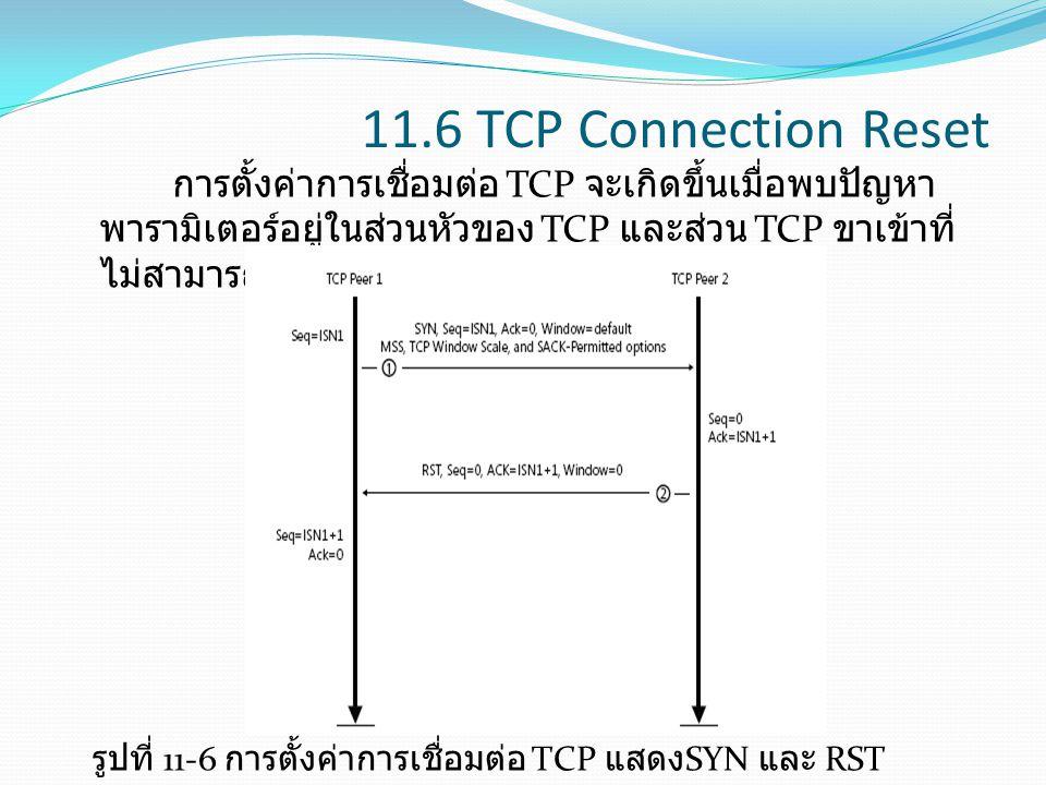11.6 TCP Connection Reset การตั้งค่าการเชื่อมต่อ TCP จะเกิดขึ้นเมื่อพบปัญหาพารามิเตอร์อยู่ในส่วนหัวของ TCP และส่วน TCP ขาเข้าที่ไม่สามารถเข้ากันได้