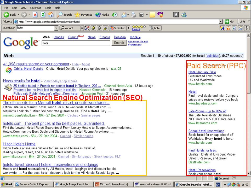 Paid Search (PPC) Natural Search Engine Optimization (SEO)