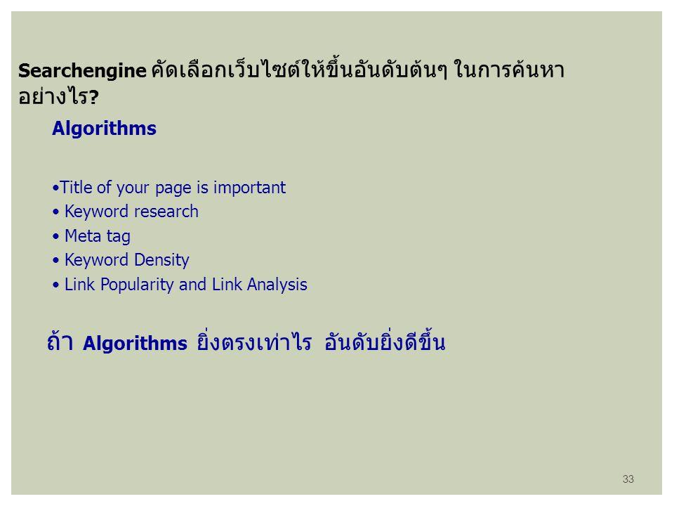 ถ้า Algorithms ยิ่งตรงเท่าไร อันดับยิ่งดีขึ้น