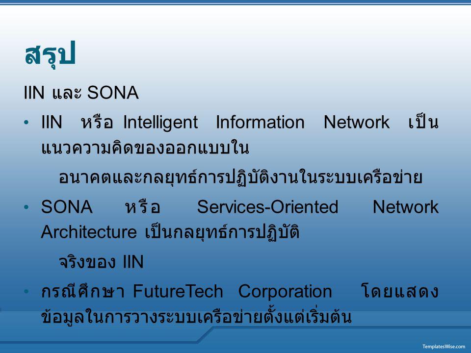 สรุป IIN และ SONA. IIN หรือ Intelligent Information Network เป็นแนวความคิดของออกแบบใน. อนาคตและกลยุทธ์การปฏิบัติงานในระบบเครือข่าย.