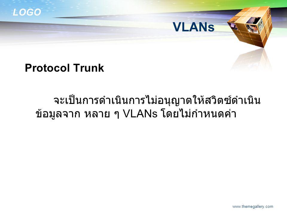 VLANs Protocol Trunk. จะเป็นการดำเนินการไม่อนุญาตให้สวิตซ์ดำเนินข้อมูลจาก หลาย ๆ VLANs โดยไม่กำหนดค่า.