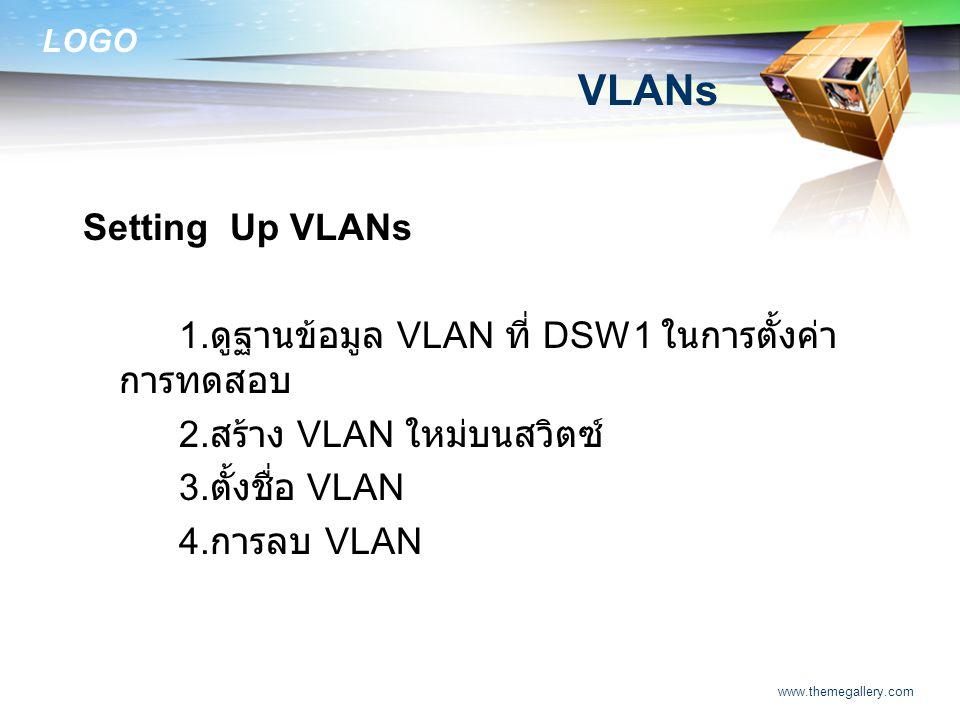 VLANs Setting Up VLANs. 1.ดูฐานข้อมูล VLAN ที่ DSW1 ในการตั้งค่าการทดสอบ. 2.สร้าง VLAN ใหม่บนสวิตซ์