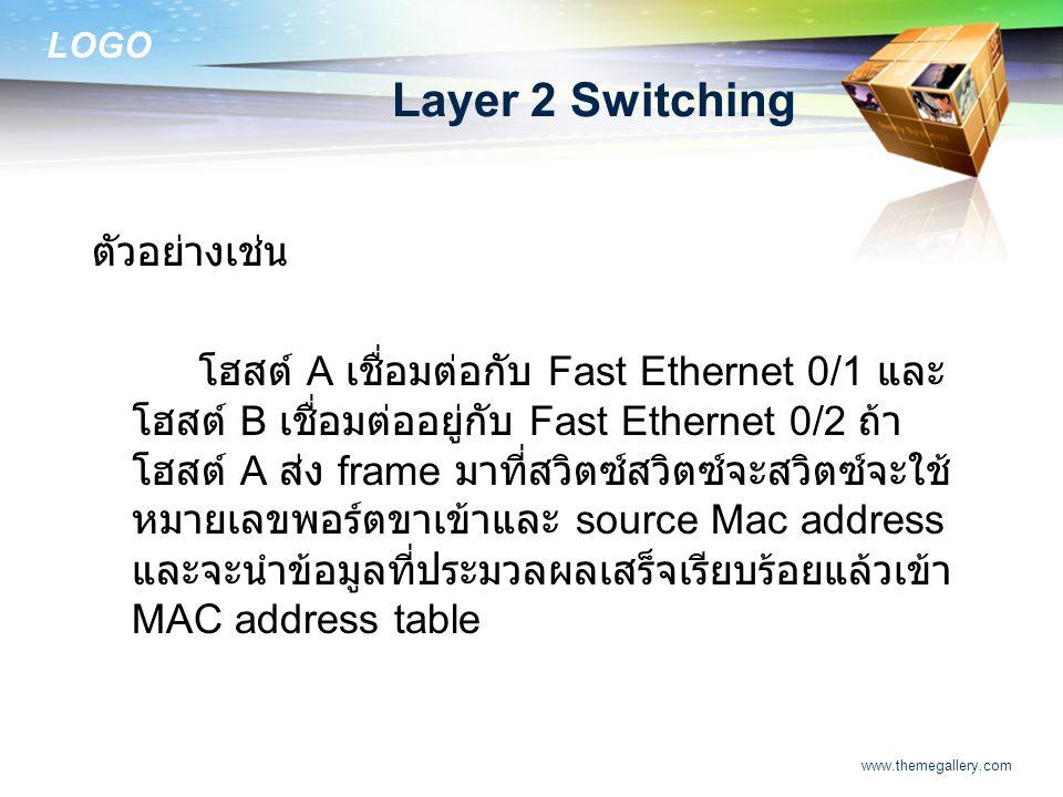 Layer 2 Switching ตัวอย่างเช่น
