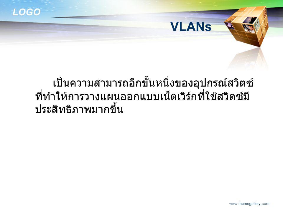 VLANs เป็นความสามารถอีกขั้นหนึ่งของอุปกรณ์สวิตซ์ที่ทำให้การวางแผนออกแบบเน็ตเวิร์กที่ใช้สวิตซ์มีประสิทธิภาพมากขึ้น.