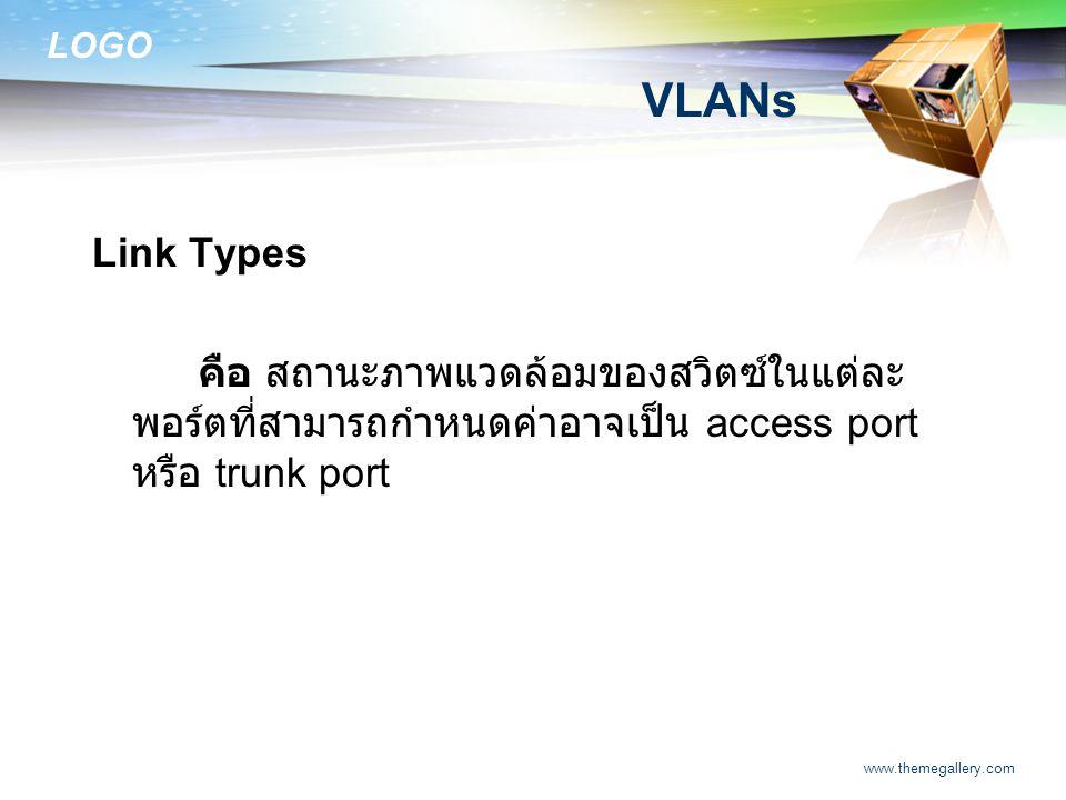 VLANs Link Types. คือ สถานะภาพแวดล้อมของสวิตซ์ในแต่ละพอร์ตที่สามารถกำหนดค่าอาจเป็น access port หรือ trunk port.