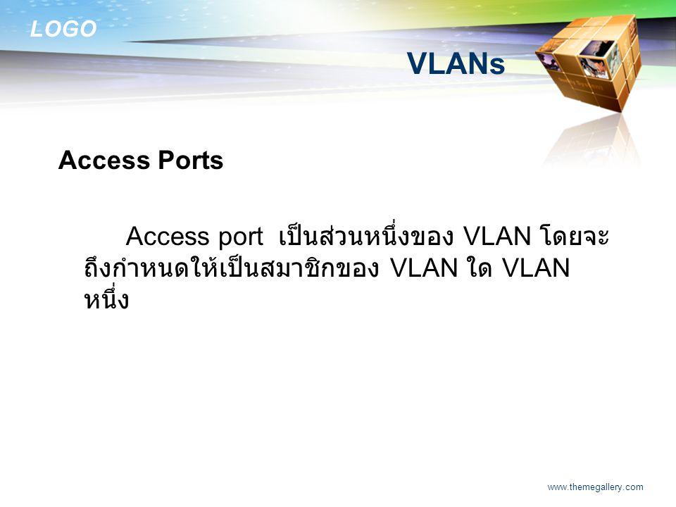 VLANs Access Ports. Access port เป็นส่วนหนึ่งของ VLAN โดยจะถึงกำหนดให้เป็นสมาชิกของ VLAN ใด VLAN หนึ่ง.