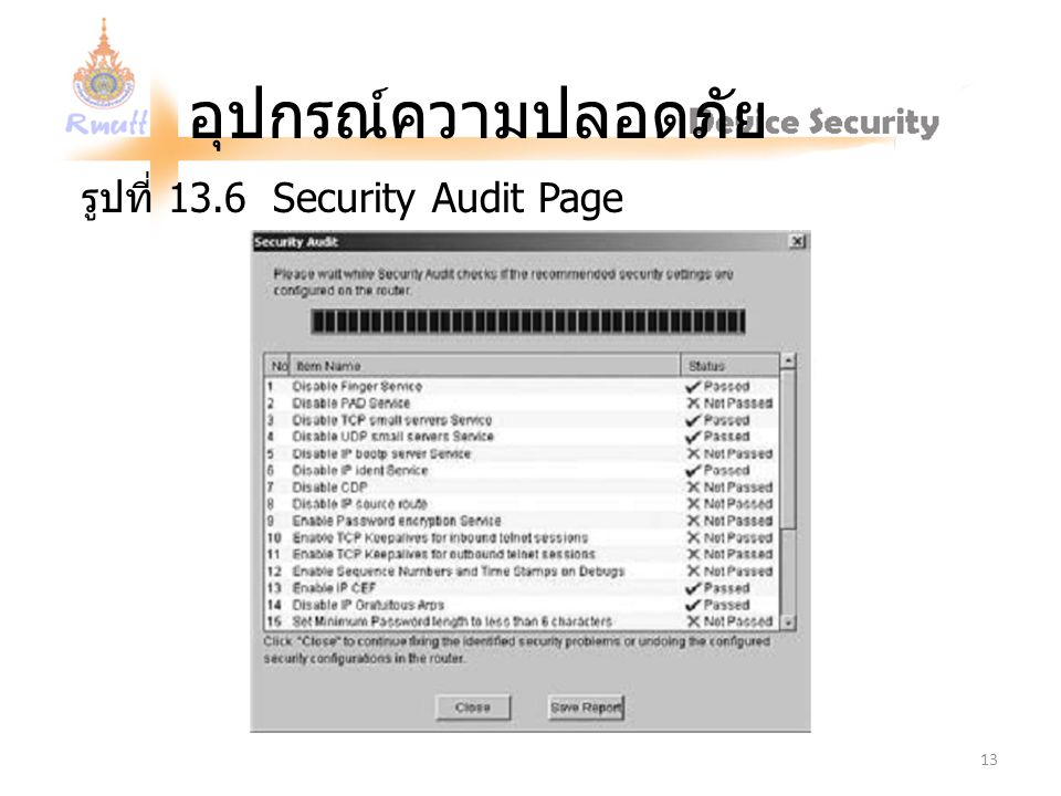 รูปที่ 13.6 Security Audit Page