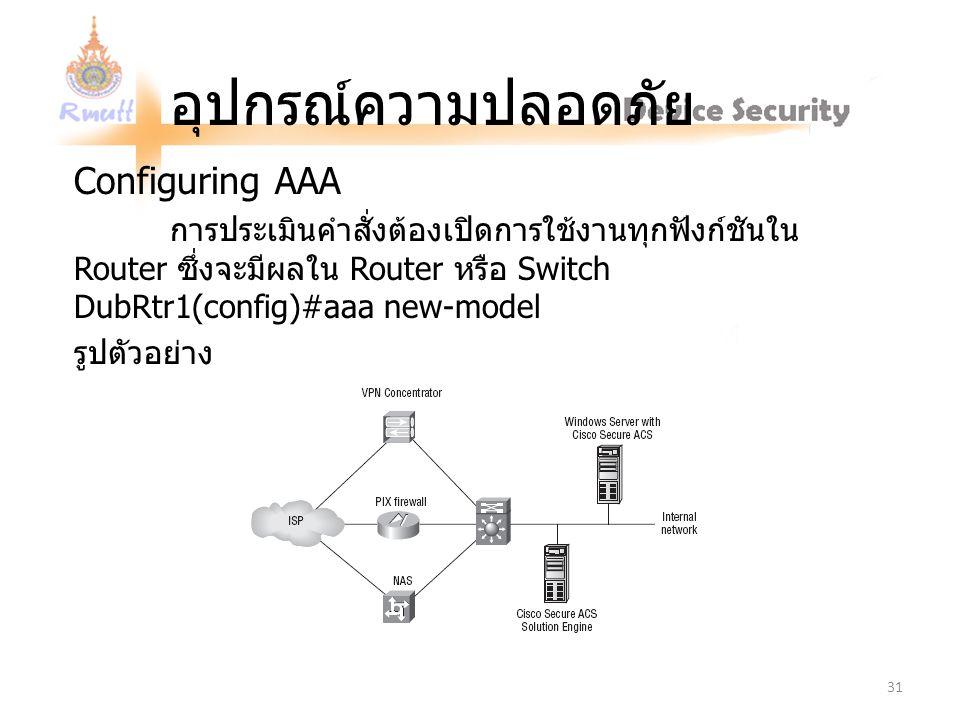 อุปกรณ์ความปลอดภัย Configuring AAA