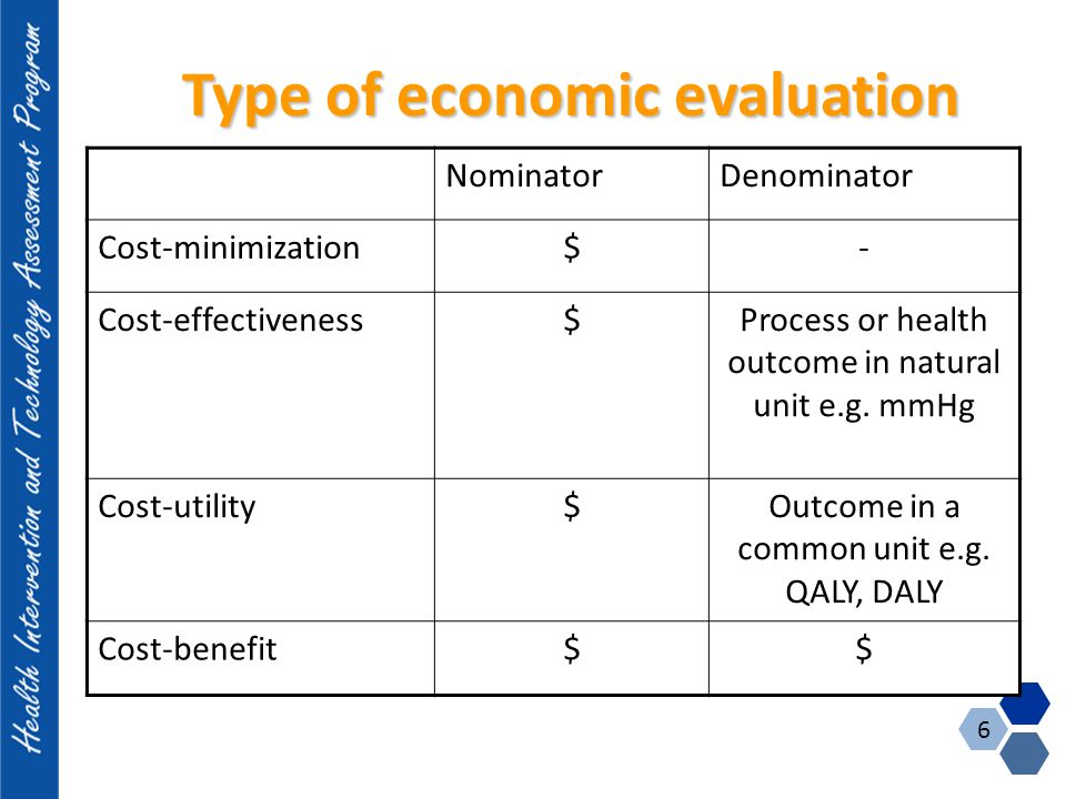 Type of economic evaluation