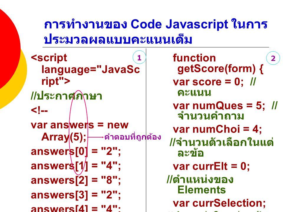 การทำงานของ Code Javascript ในการประมวลผลแบบคะแนนเต็ม