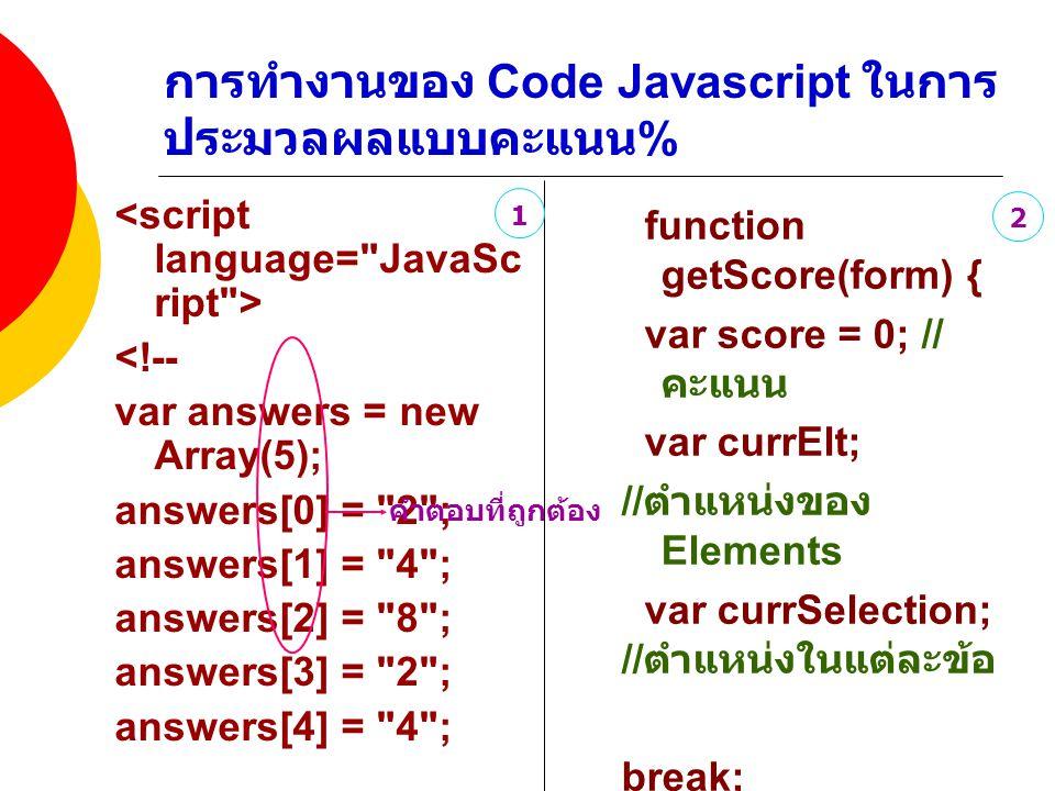 การทำงานของ Code Javascript ในการประมวลผลแบบคะแนน%