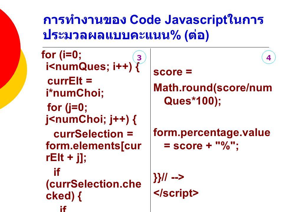 การทำงานของ Code Javascriptในการประมวลผลแบบคะแนน% (ต่อ)