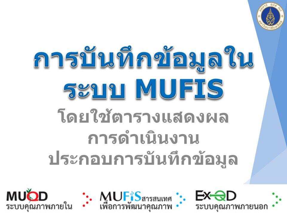 การบันทึกข้อมูลในระบบ MUFIS
