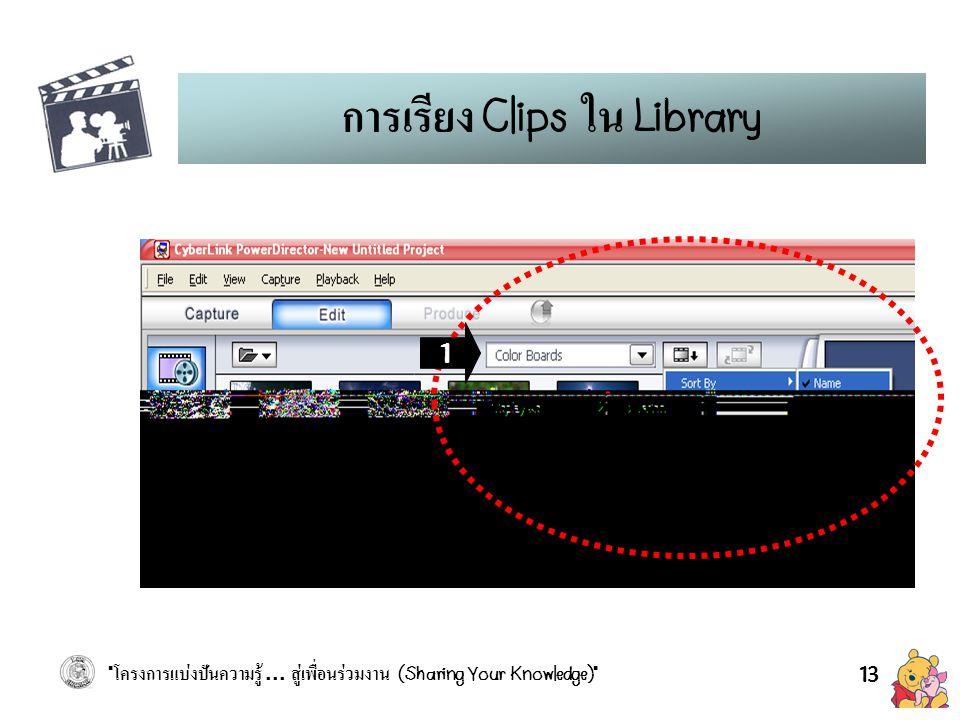 การเรียง Clips ใน Library