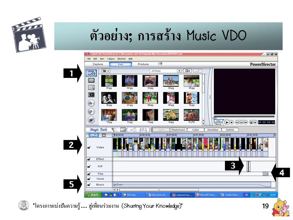 ตัวอย่าง; การสร้าง Music VDO