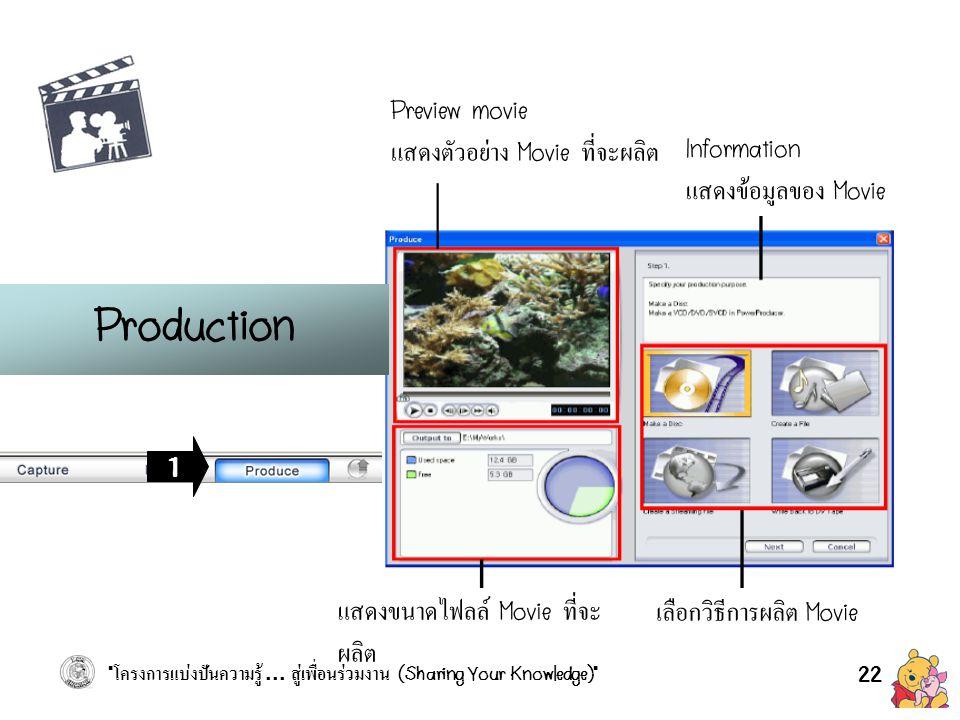 Production Preview movie แสดงตัวอย่าง Movie ที่จะผลิต Information