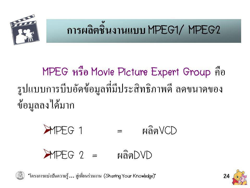 การผลิตชิ้นงานแบบ MPEG1/ MPEG2