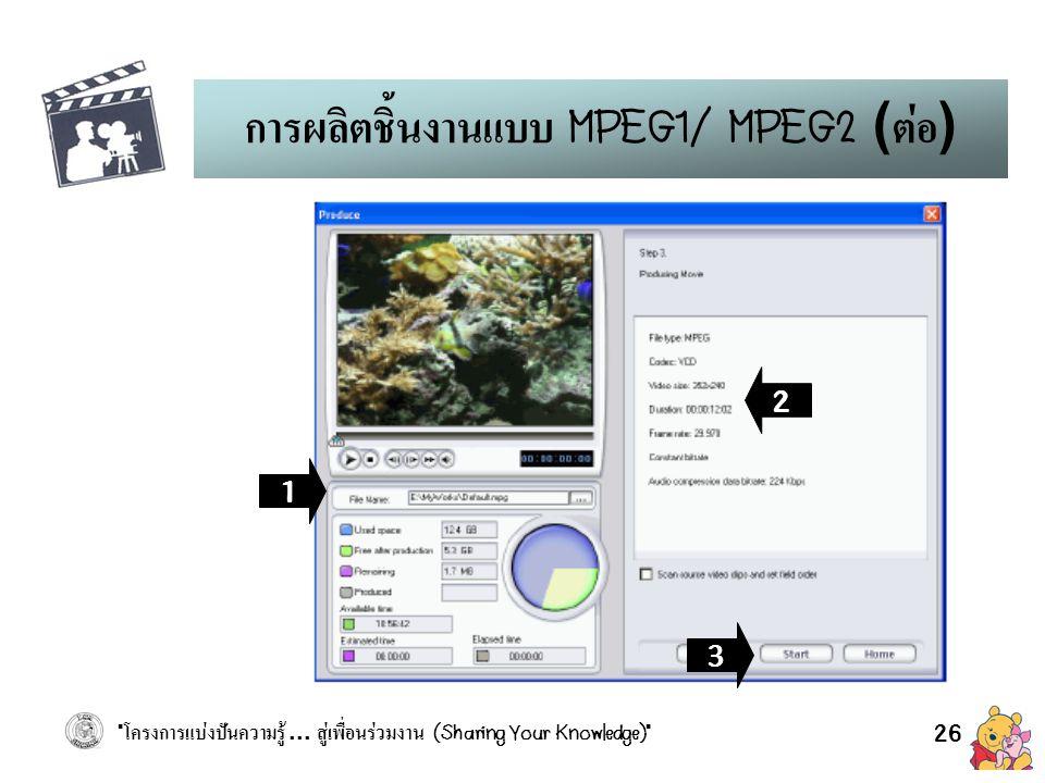 การผลิตชิ้นงานแบบ MPEG1/ MPEG2 (ต่อ)