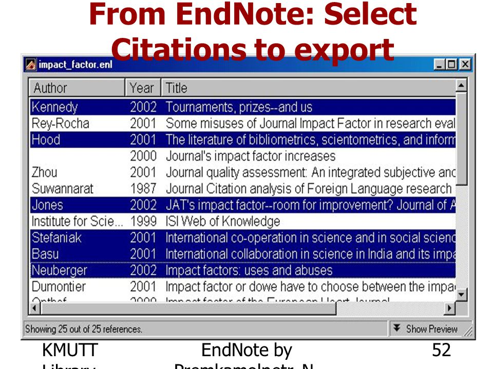 From EndNote: Select Citations to export