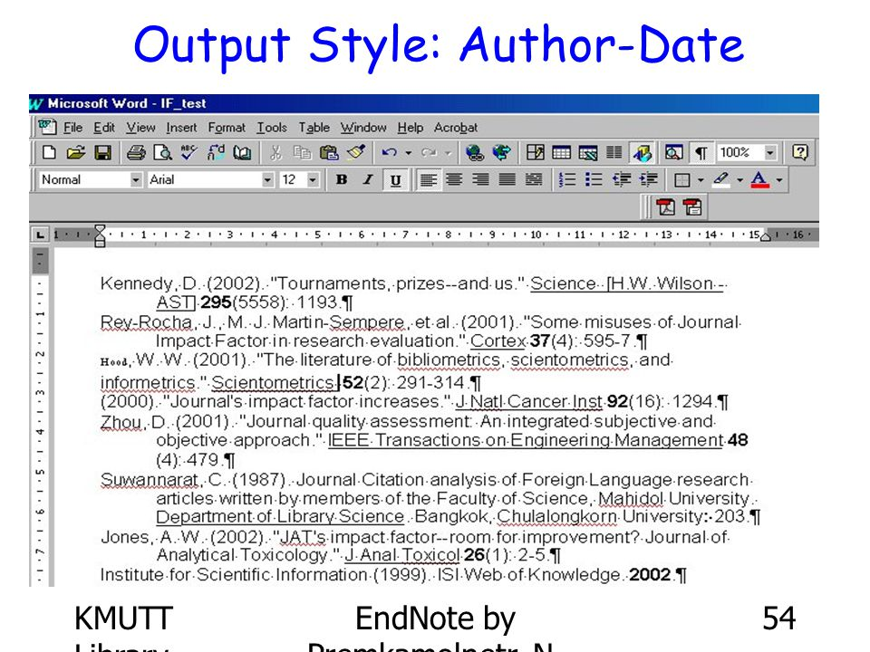 Output Style: Author-Date