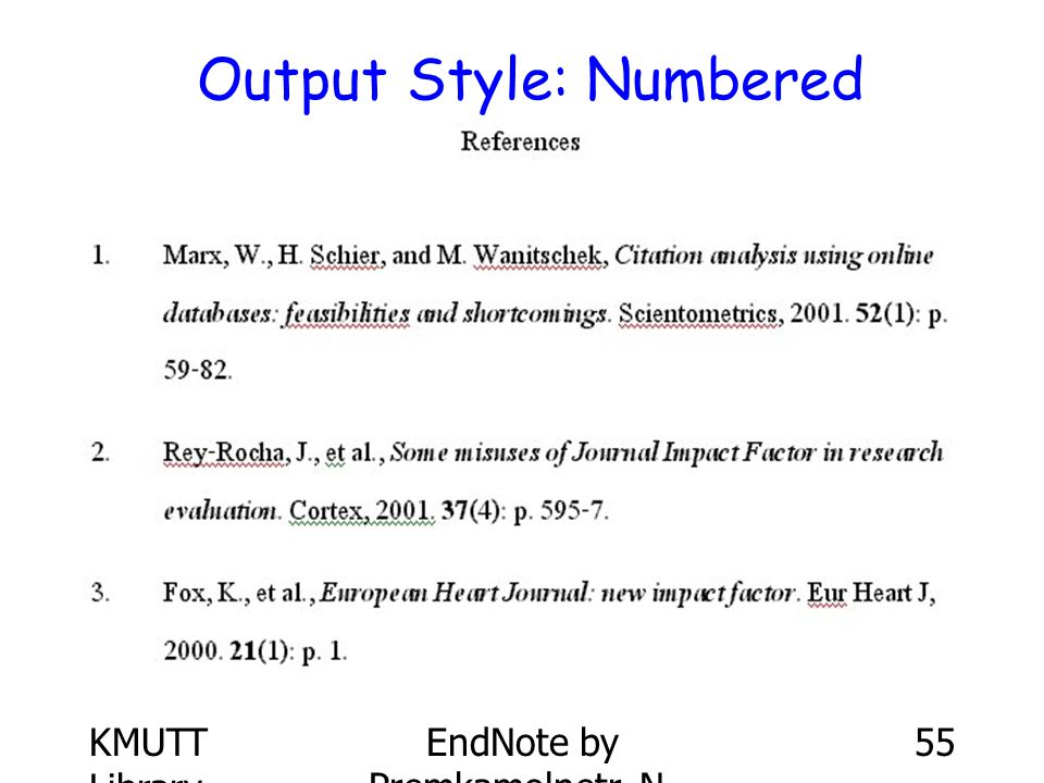 Output Style: Numbered