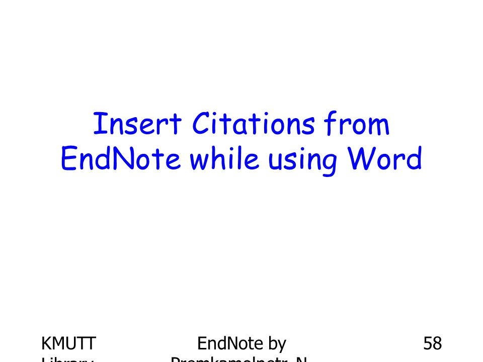 Insert Citations from EndNote while using Word