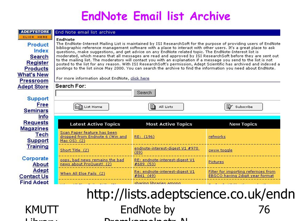 EndNote Email list Archive