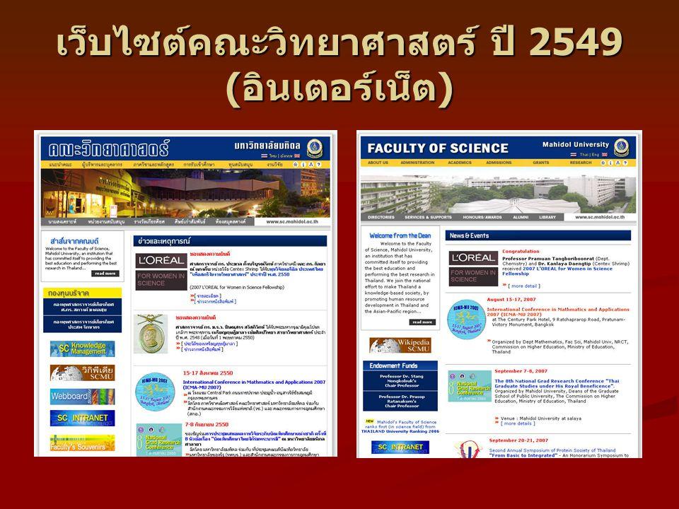 เว็บไซต์คณะวิทยาศาสตร์ ปี 2549 (อินเตอร์เน็ต)