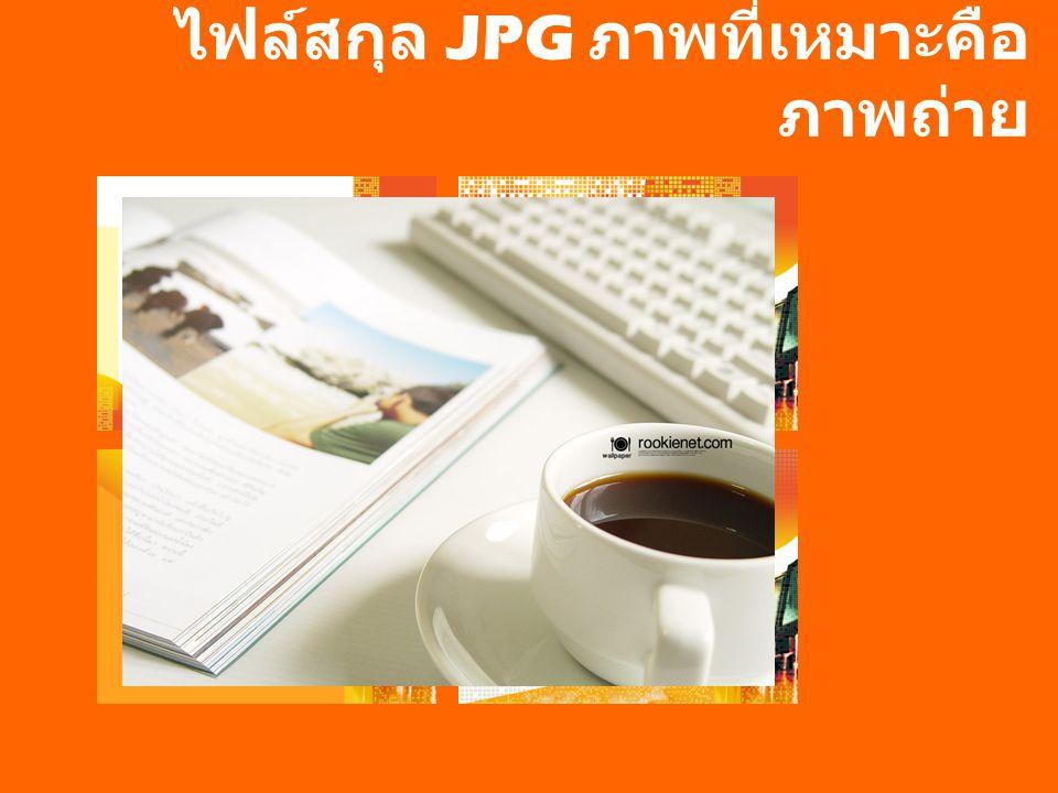 ไฟล์สกุล JPG ภาพที่เหมาะคือ ภาพถ่าย