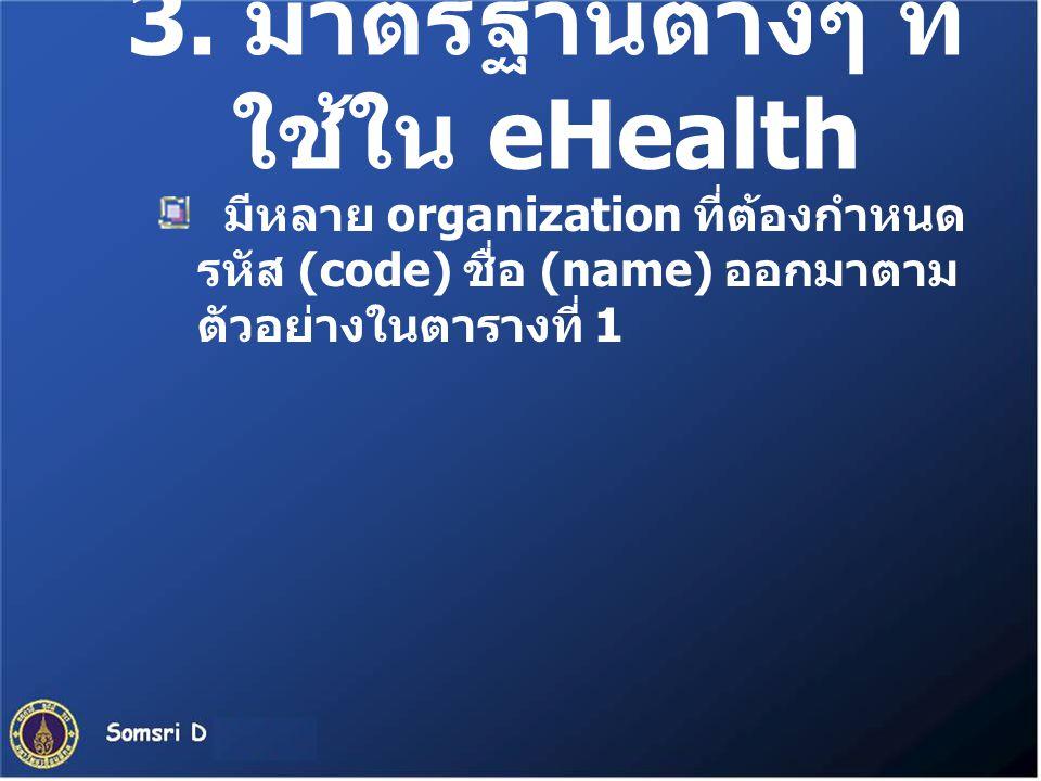 3. มาตรฐานต่างๆ ที่ใช้ใน eHealth