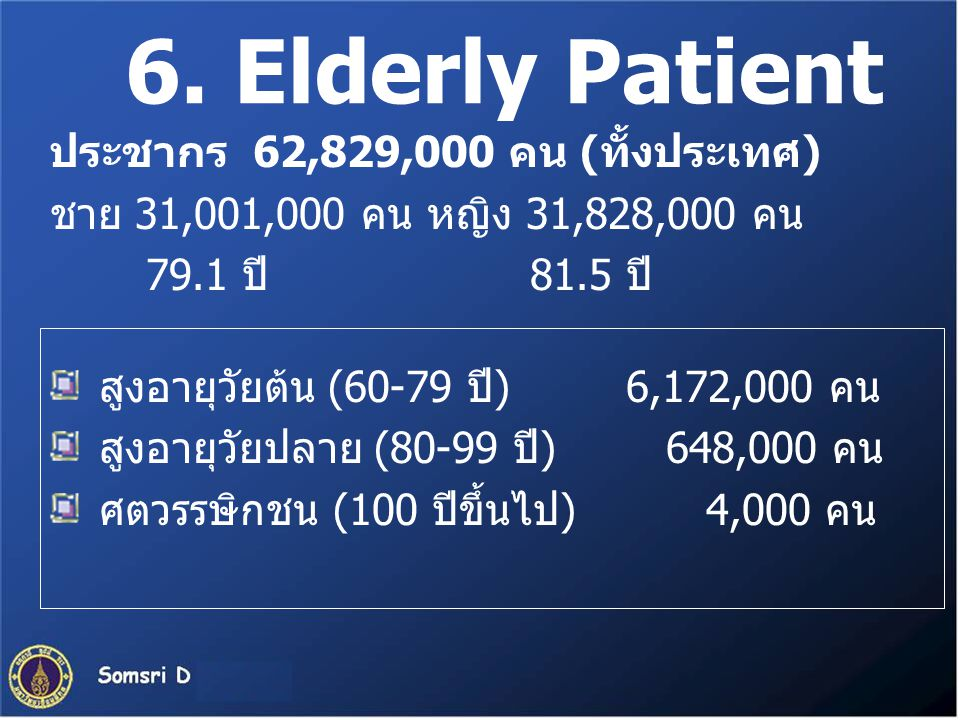 6. Elderly Patient ประชากร 62,829,000 คน (ทั้งประเทศ)