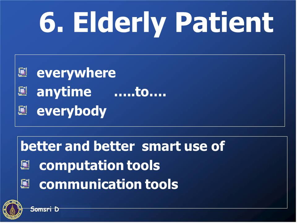 6. Elderly Patient everywhere anytime …..to…. everybody