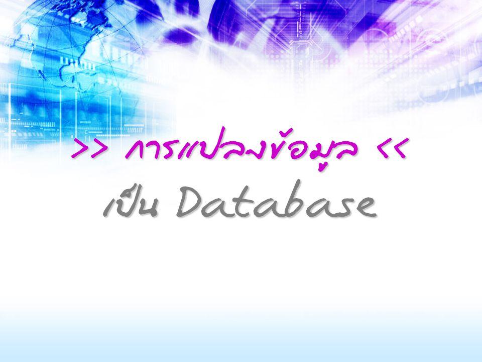 >> การแปลงข้อมูล << เป็น Database