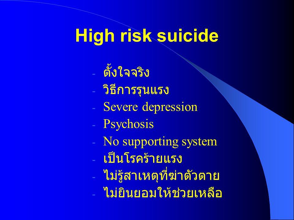 High risk suicide ตั้งใจจริง วิธีการรุนแรง Severe depression Psychosis