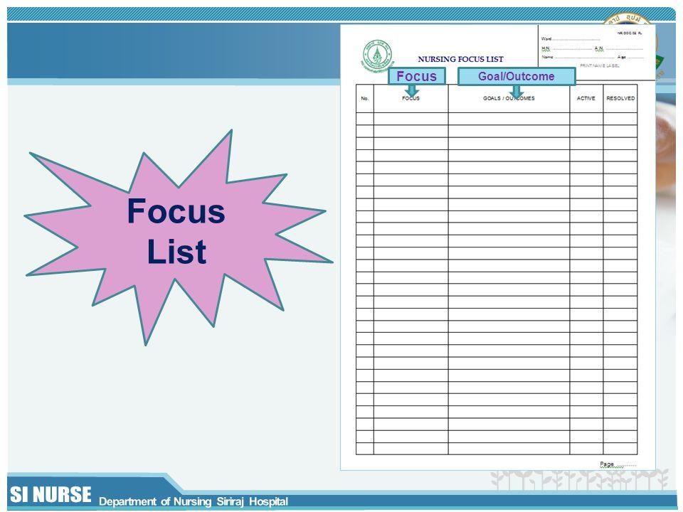 Focus Goal/Outcome Focus List