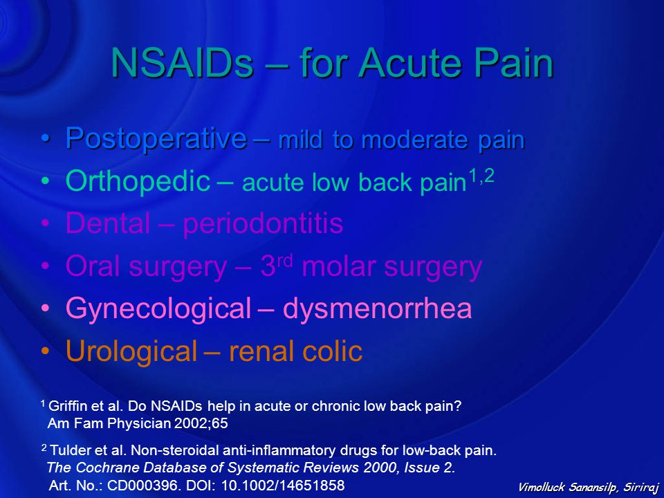 NSAIDs – for Acute Pain Postoperative – mild to moderate pain
