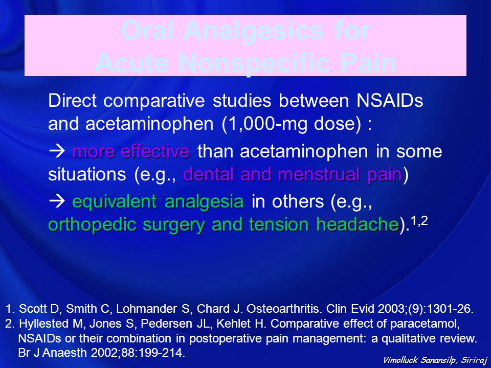 Oral Analgesics for Acute Nonspecific Pain