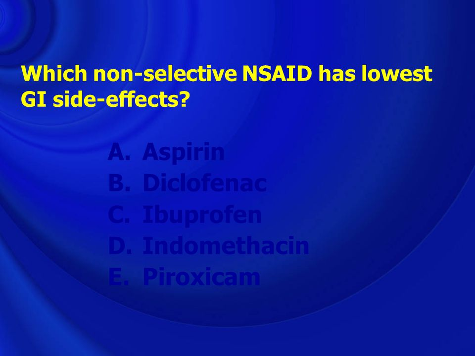 Which non-selective NSAID has lowest GI side-effects