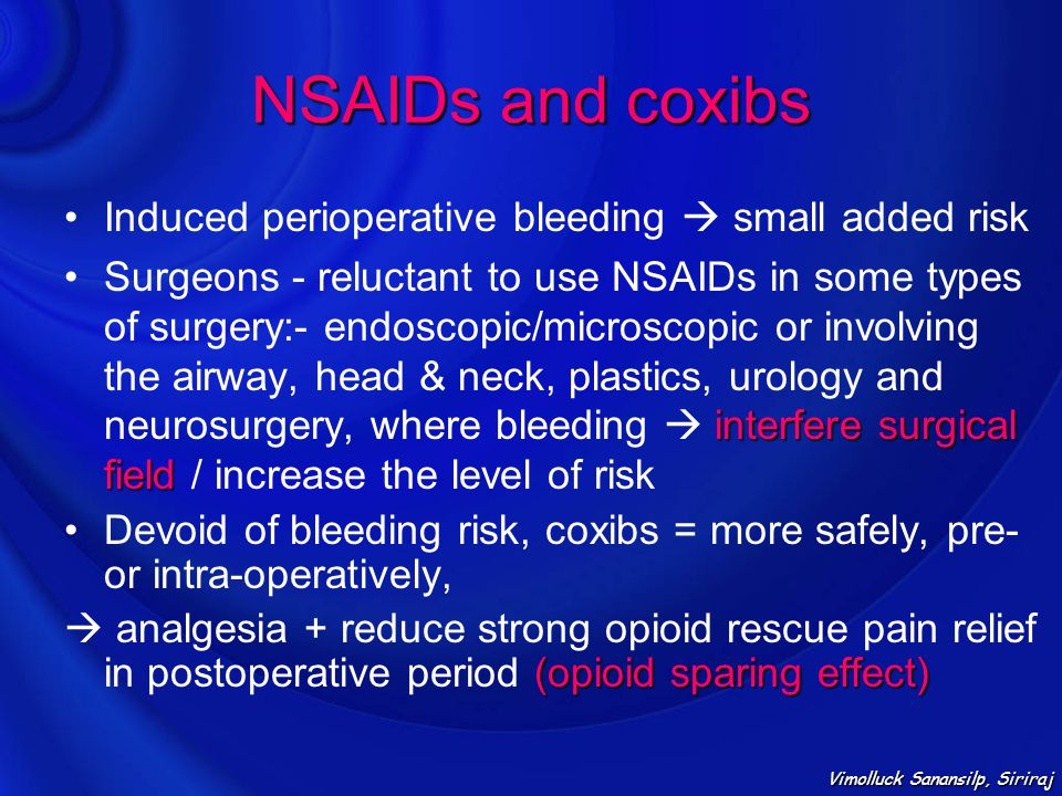 NSAIDs and coxibs Induced perioperative bleeding  small added risk