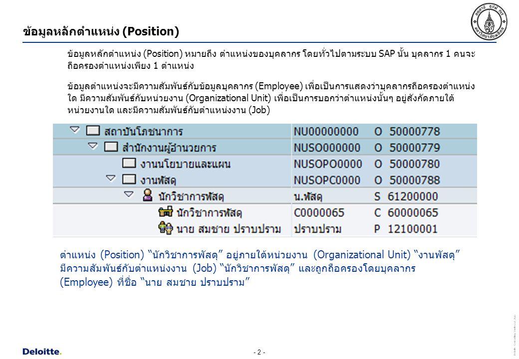 ข้อมูลหลักตำแหน่ง (Position)