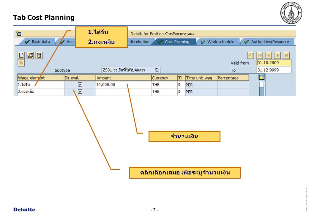 Tab Cost Planning 1.ได้รับ 2.คงเหลือ จำนวนเงิน