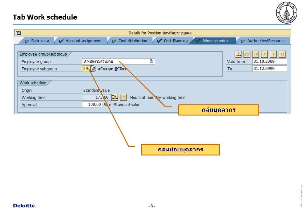 Tab Work schedule กลุ่มบุคลากร กลุ่มย่อยบุคลากร