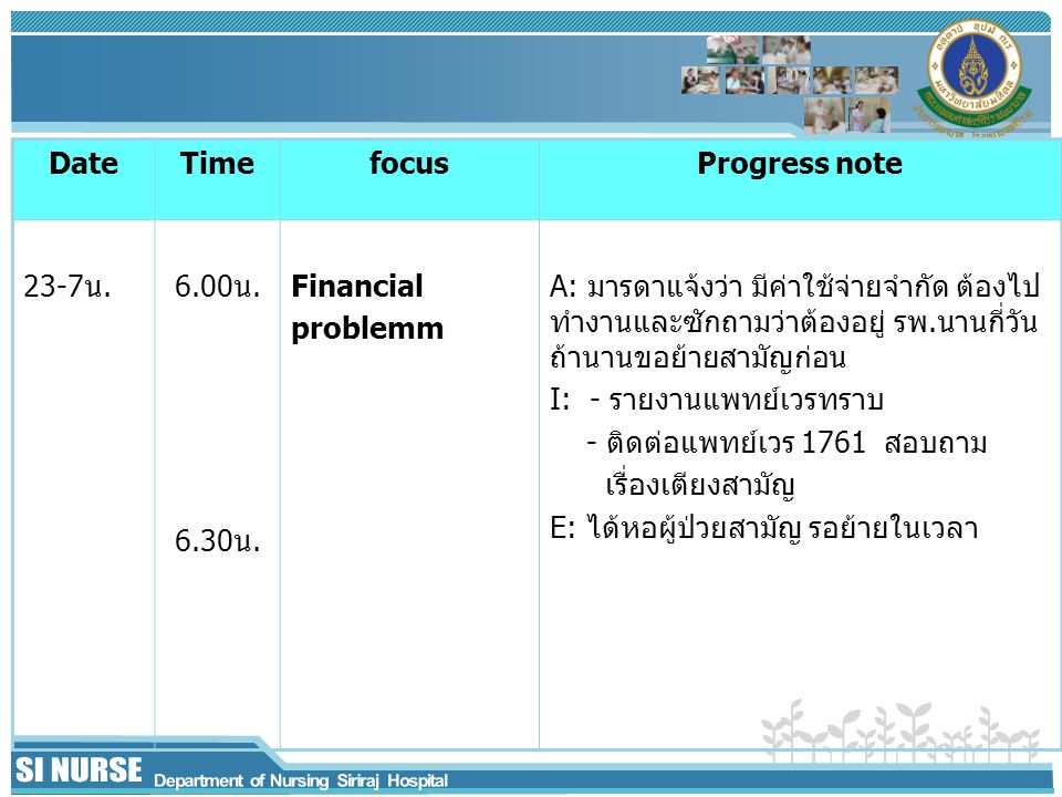 Date Time. focus. Progress note. 23-7น. 6.00น. 6.30น. Financial. problemm.