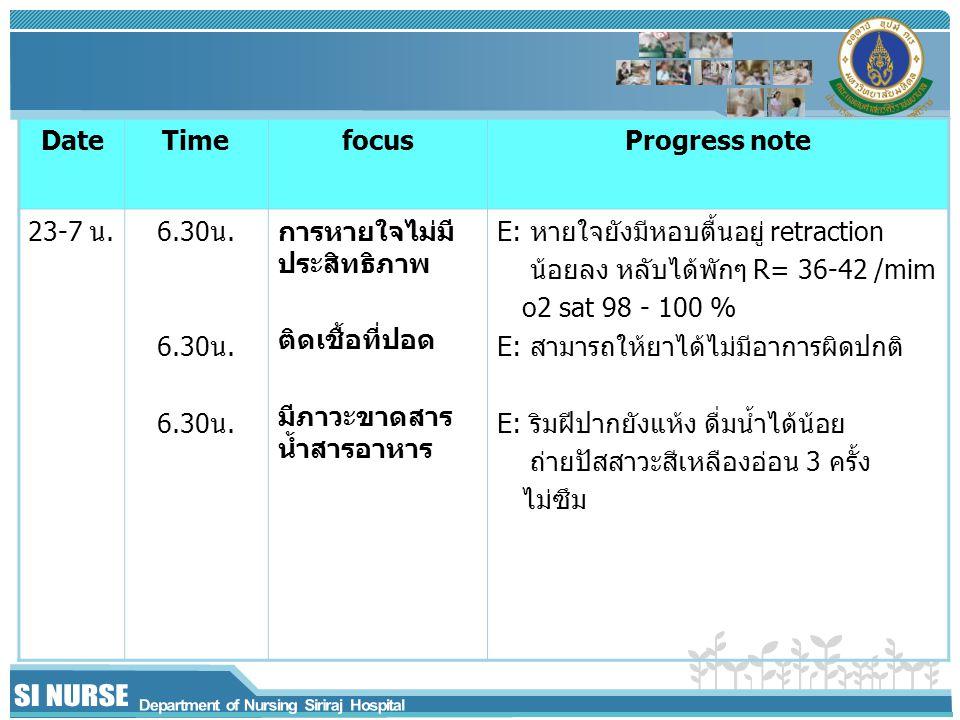 Date Time. focus. Progress note. 23-7 น. 6.30น. การหายใจไม่มีประสิทธิภาพ. ติดเชื้อที่ปอด. มีภาวะขาดสารน้ำสารอาหาร.